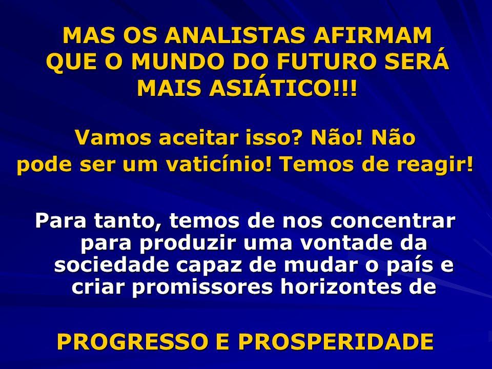 MAS OS ANALISTAS AFIRMAM QUE O MUNDO DO FUTURO SERÁ MAIS ASIÁTICO!!!