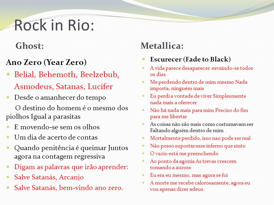 Rock in Rio: Ghost: Metallica: Ano Zero (Year Zero)