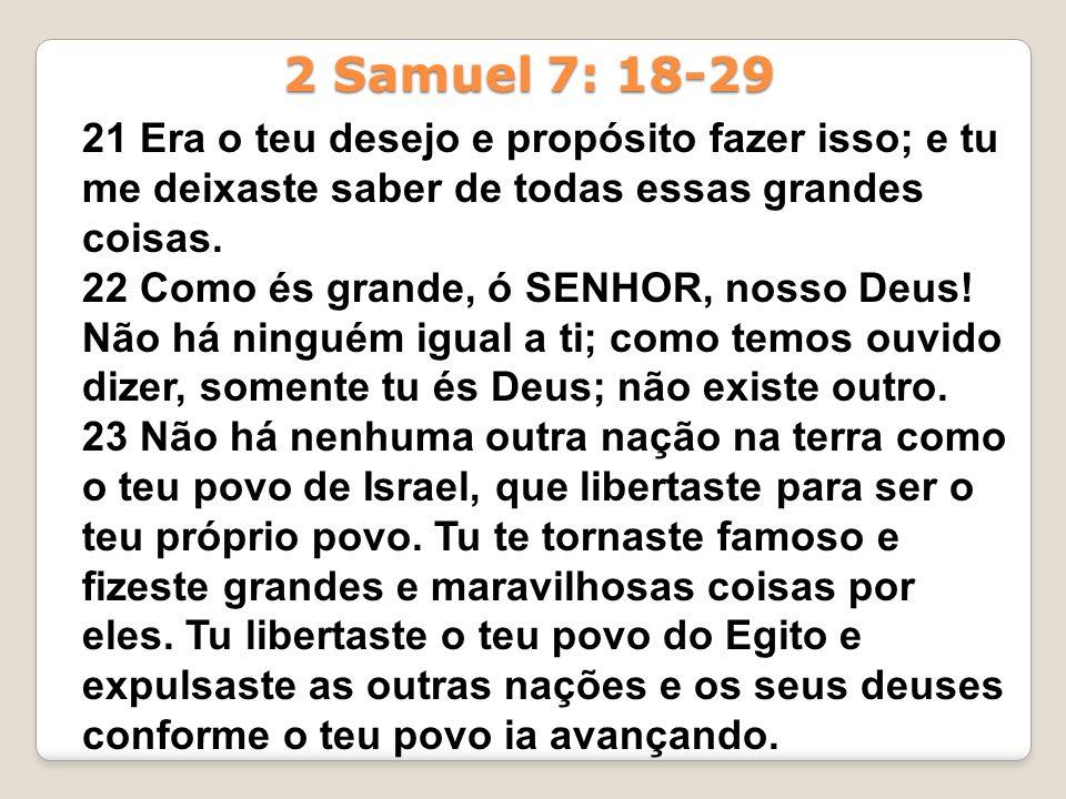 2 Samuel 7: 18-29 21 Era o teu desejo e propósito fazer isso; e tu me deixaste saber de todas essas grandes coisas.