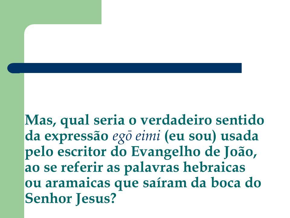 Mas, qual seria o verdadeiro sentido da expressão egō eimi (eu sou) usada pelo escritor do Evangelho de João, ao se referir as palavras hebraicas ou aramaicas que saíram da boca do Senhor Jesus