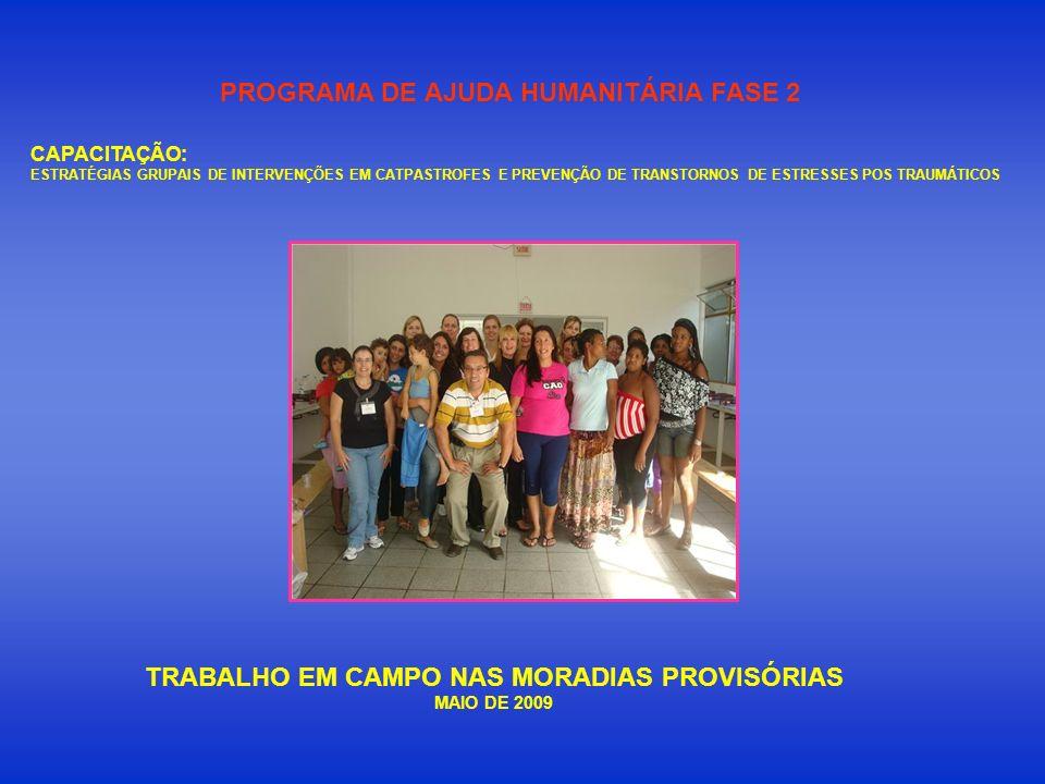 TRABALHO EM CAMPO NAS MORADIAS PROVISÓRIAS MAIO DE 2009