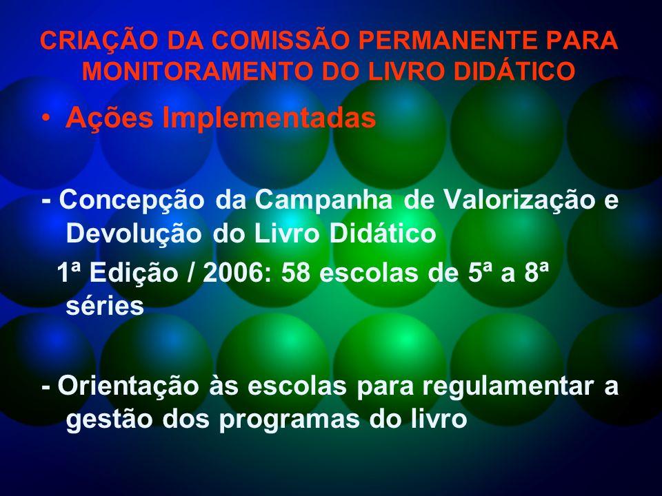 CRIAÇÃO DA COMISSÃO PERMANENTE PARA MONITORAMENTO DO LIVRO DIDÁTICO