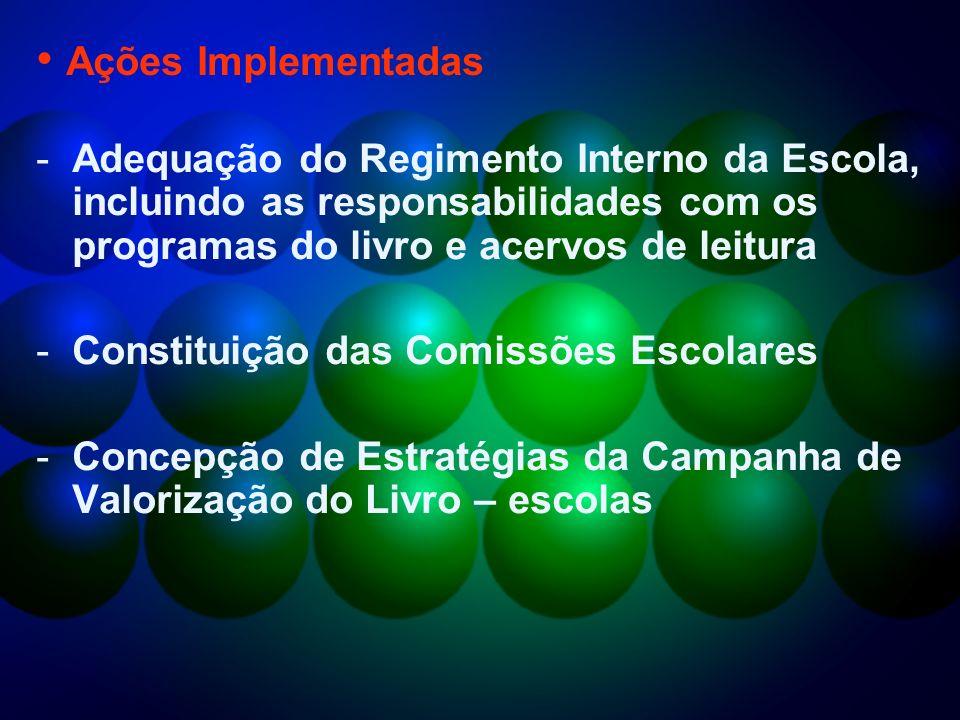 Ações Implementadas Adequação do Regimento Interno da Escola, incluindo as responsabilidades com os programas do livro e acervos de leitura.