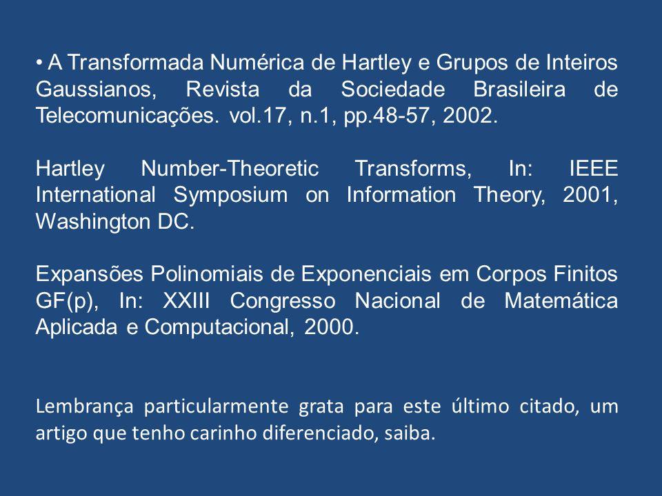 A Transformada Numérica de Hartley e Grupos de Inteiros Gaussianos, Revista da Sociedade Brasileira de Telecomunicações. vol.17, n.1, pp.48-57, 2002.