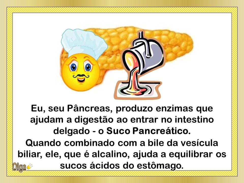 Eu, seu Pâncreas, produzo enzimas que ajudam a digestão ao entrar no intestino delgado - o Suco Pancreático.