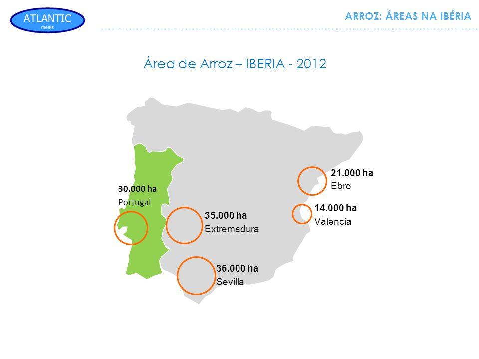 Área de Arroz – IBERIA - 2012 ARROZ: ÁREAS NA IBÉRIA 21.000 ha Ebro