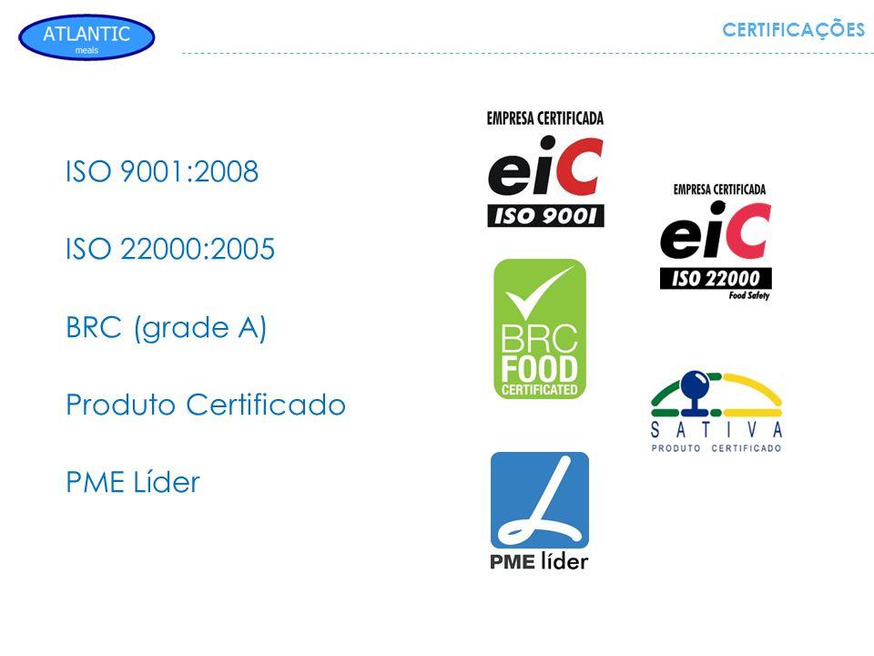 ISO 9001:2008 ISO 22000:2005 BRC (grade A) Produto Certificado