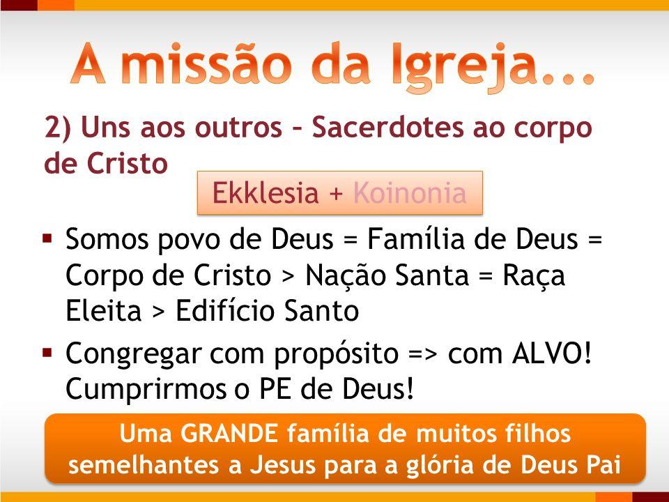 A missão da Igreja... 2) Uns aos outros – Sacerdotes ao corpo de Cristo. Ekklesia + Koinonia.