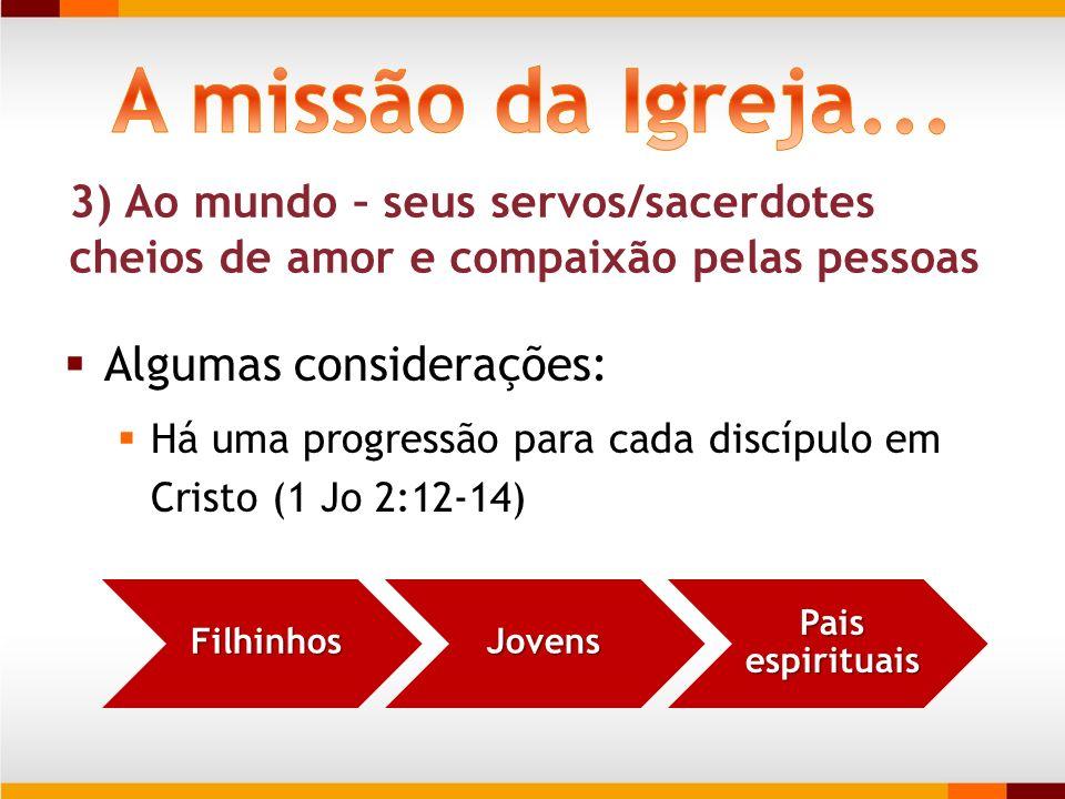 A missão da Igreja... Algumas considerações: