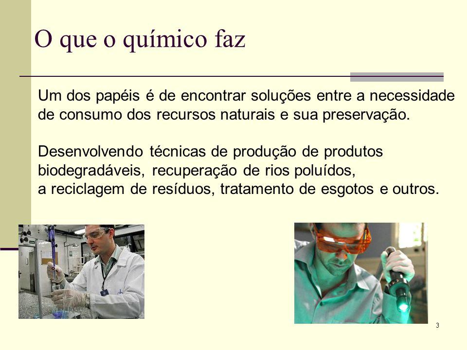 O que o químico faz Um dos papéis é de encontrar soluções entre a necessidade. de consumo dos recursos naturais e sua preservação.