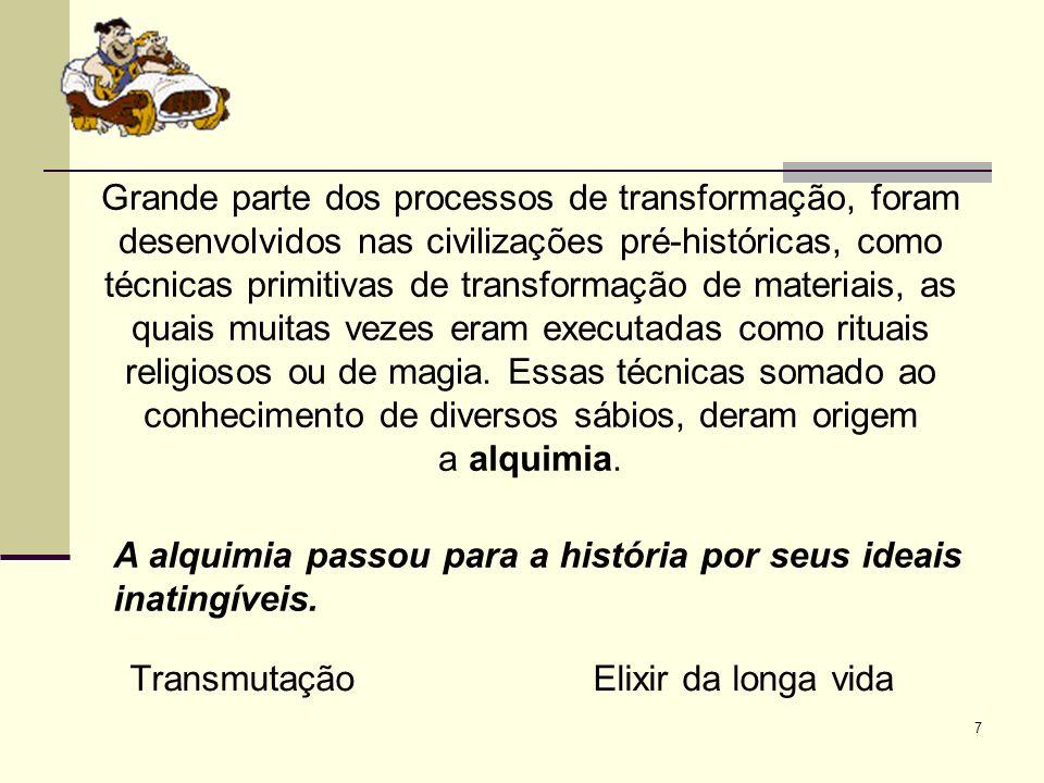 Grande parte dos processos de transformação, foram