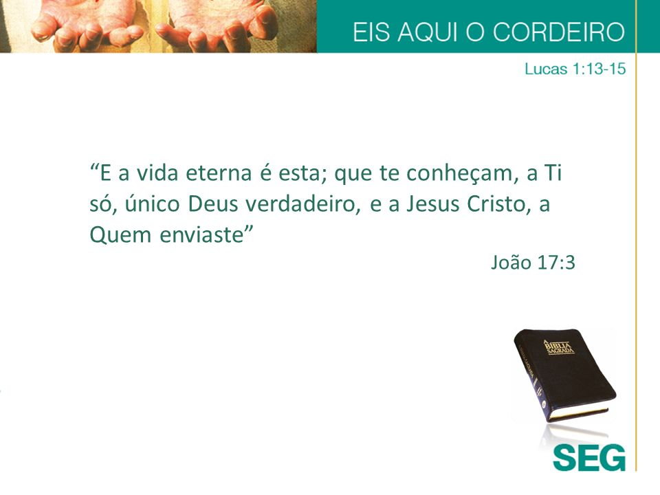 E a vida eterna é esta; que te conheçam, a Ti só, único Deus verdadeiro, e a Jesus Cristo, a Quem enviaste