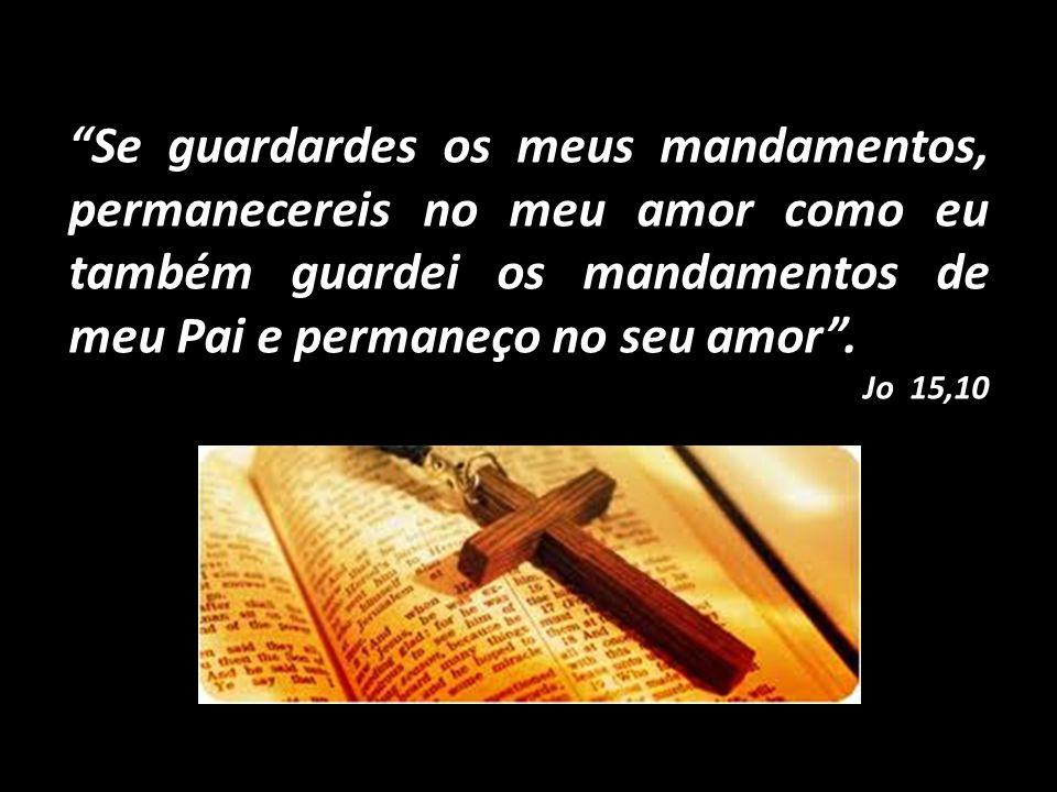 Se guardardes os meus mandamentos, permanecereis no meu amor como eu também guardei os mandamentos de meu Pai e permaneço no seu amor .