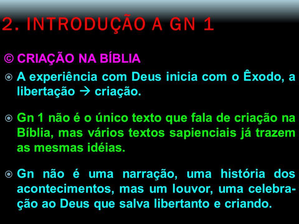 2. INTRODUÇÃO A GN 1 © CRIAÇÃO NA BÍBLIA