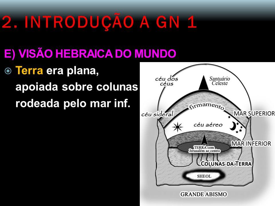 2. INTRODUÇÃO A GN 1 E) VISÃO HEBRAICA DO MUNDO Terra era plana,