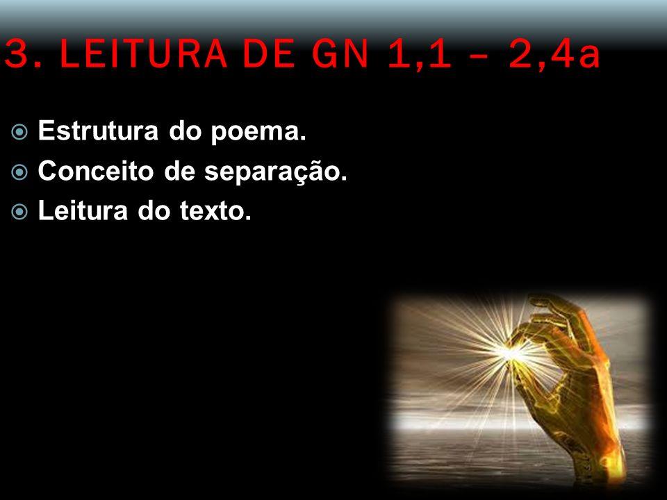 3. LEITURA DE GN 1,1 – 2,4a Estrutura do poema. Conceito de separação.