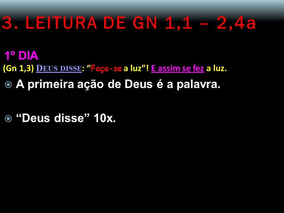 3. LEITURA DE GN 1,1 – 2,4a 1º DIA. (Gn 1,3) Deus disse: Faça-se a luz ! E assim se fez a luz. A primeira ação de Deus é a palavra.