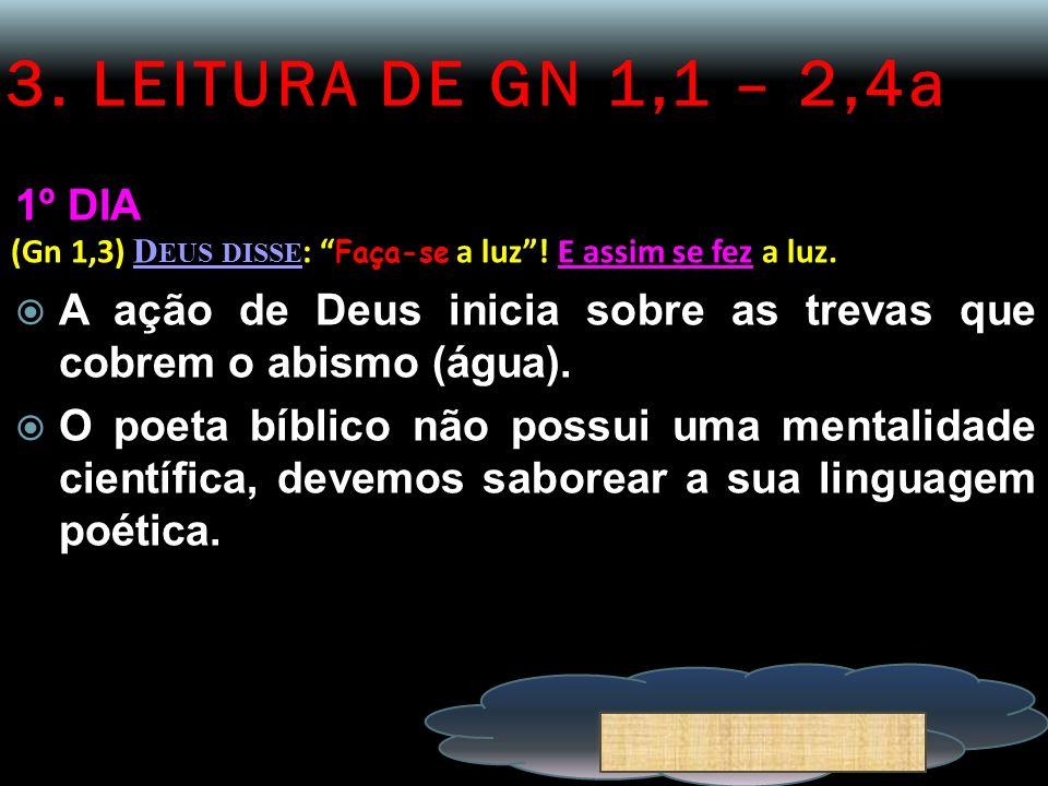 3. LEITURA DE GN 1,1 – 2,4a 1º DIA. (Gn 1,3) Deus disse: Faça-se a luz ! E assim se fez a luz.