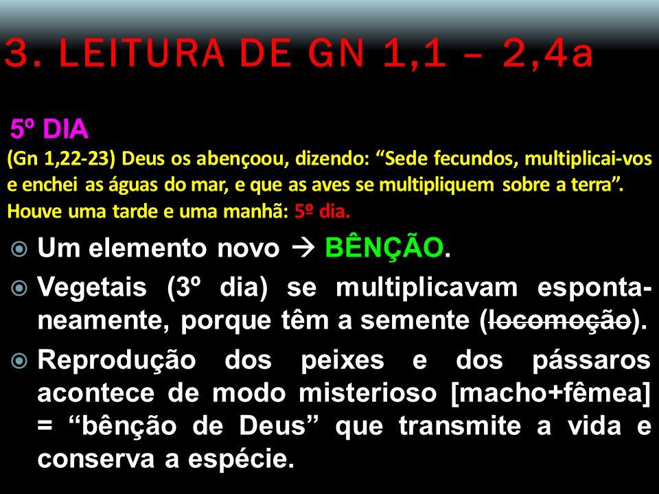 3. LEITURA DE GN 1,1 – 2,4a 5º DIA Um elemento novo  BÊNÇÃO.