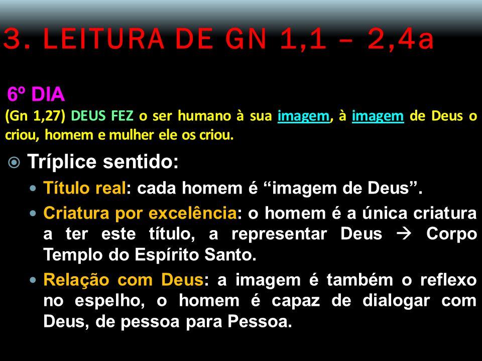 3. LEITURA DE GN 1,1 – 2,4a 6º DIA Tríplice sentido: