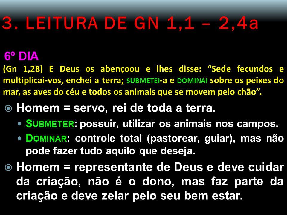 3. LEITURA DE GN 1,1 – 2,4a 6º DIA Homem = servo, rei de toda a terra.
