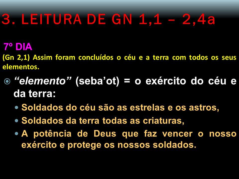 3. LEITURA DE GN 1,1 – 2,4a 7º DIA. (Gn 2,1) Assim foram concluídos o céu e a terra com todos os seus elementos.
