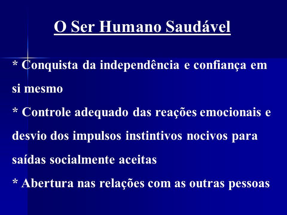 O Ser Humano Saudável * Conquista da independência e confiança em si mesmo.