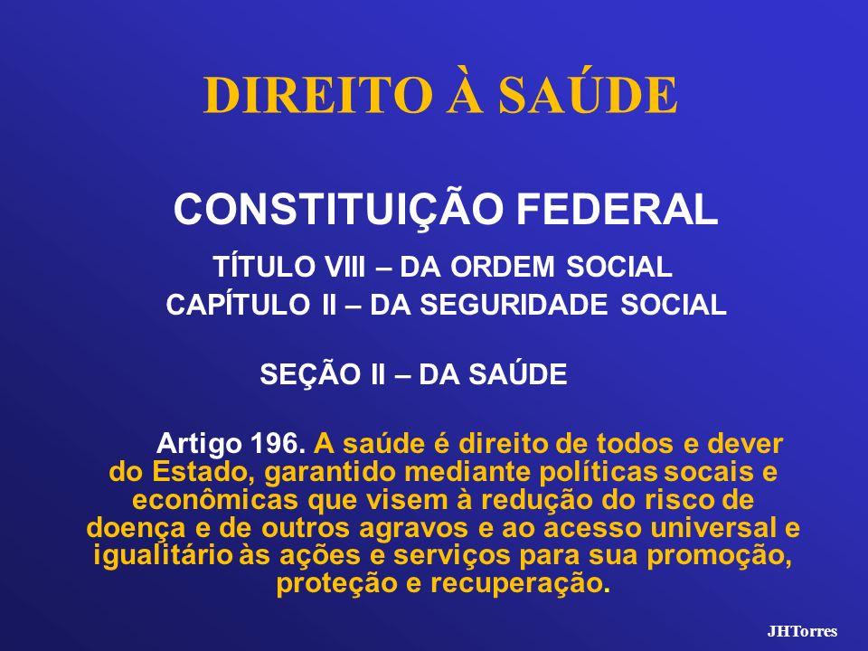 DIREITO À SAÚDE TÍTULO VIII – DA ORDEM SOCIAL CONSTITUIÇÃO FEDERAL