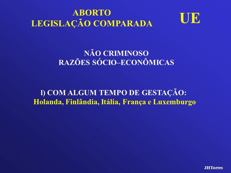UE ABORTO LEGISLAÇÃO COMPARADA NÃO CRIMINOSO RAZÕES SÓCIO–ECONÔMICAS