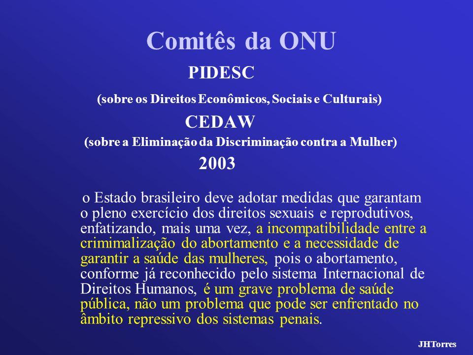 Comitês da ONU PIDESC. (sobre os Direitos Econômicos, Sociais e Culturais) CEDAW. (sobre a Eliminação da Discriminação contra a Mulher)