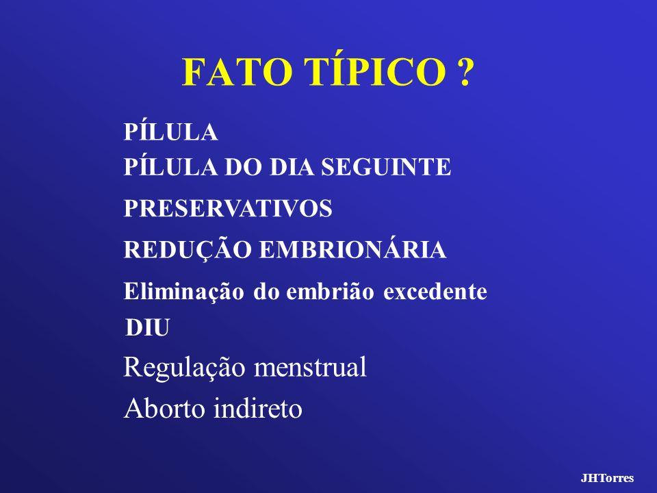 FATO TÍPICO Regulação menstrual Aborto indireto PÍLULA