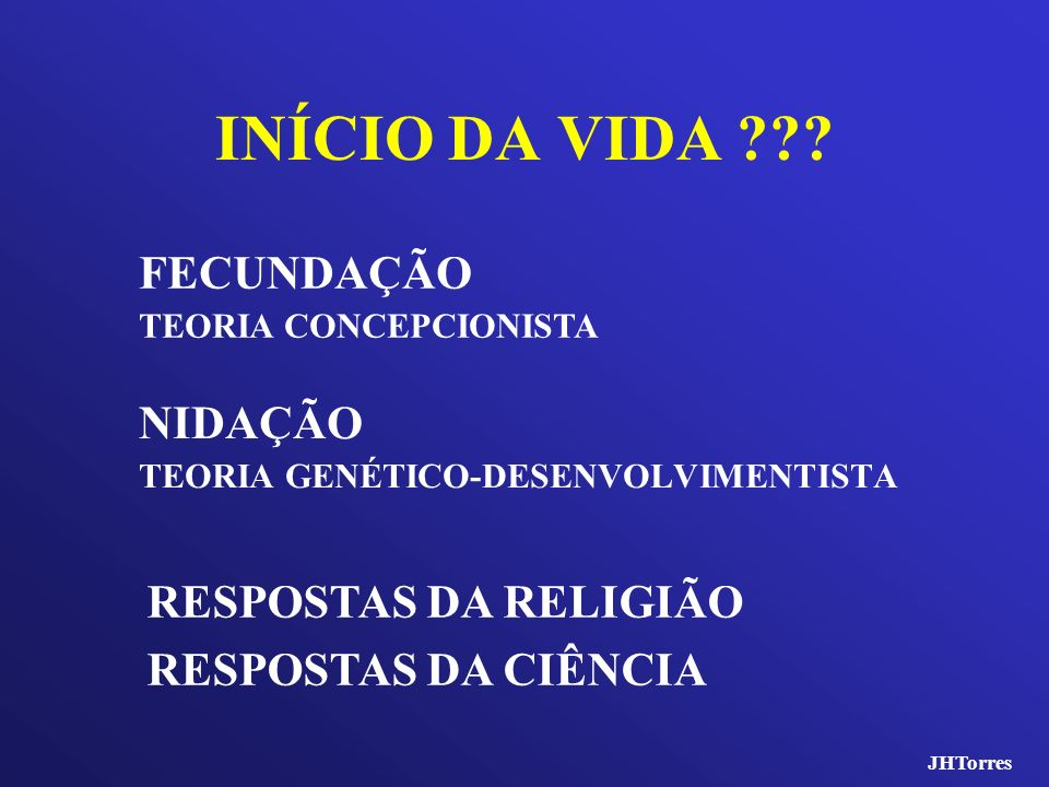 INÍCIO DA VIDA FECUNDAÇÃO NIDAÇÃO RESPOSTAS DA RELIGIÃO