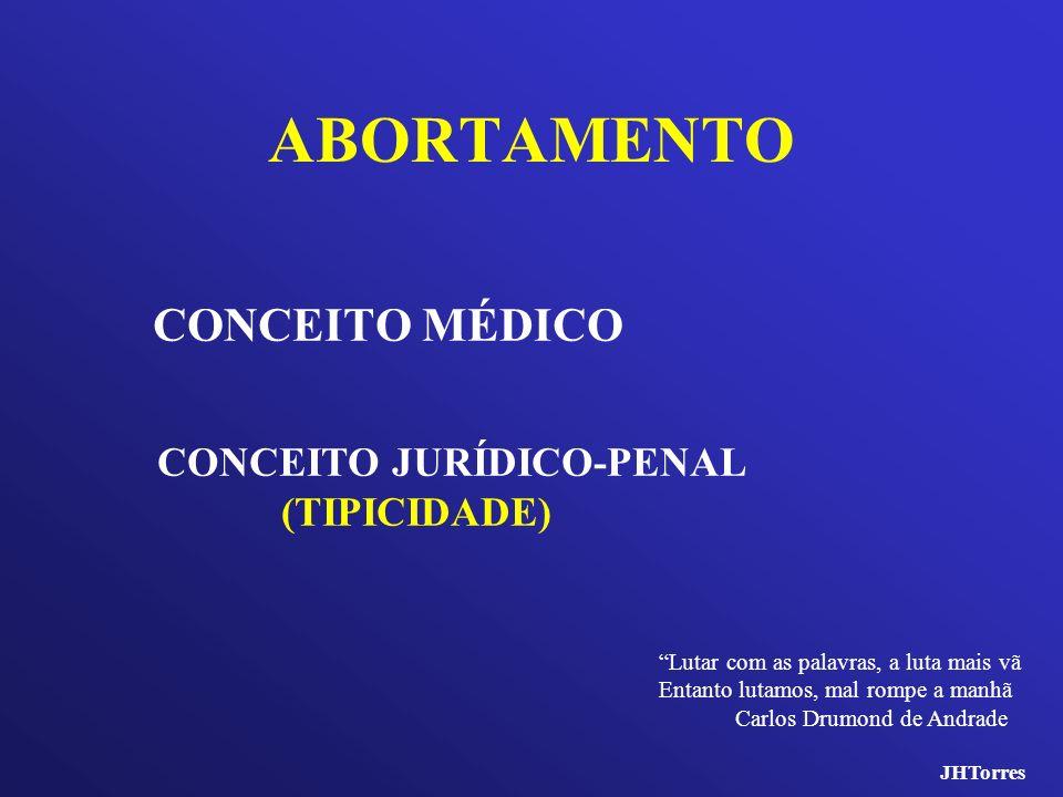 ABORTAMENTO CONCEITO MÉDICO CONCEITO JURÍDICO-PENAL (TIPICIDADE)