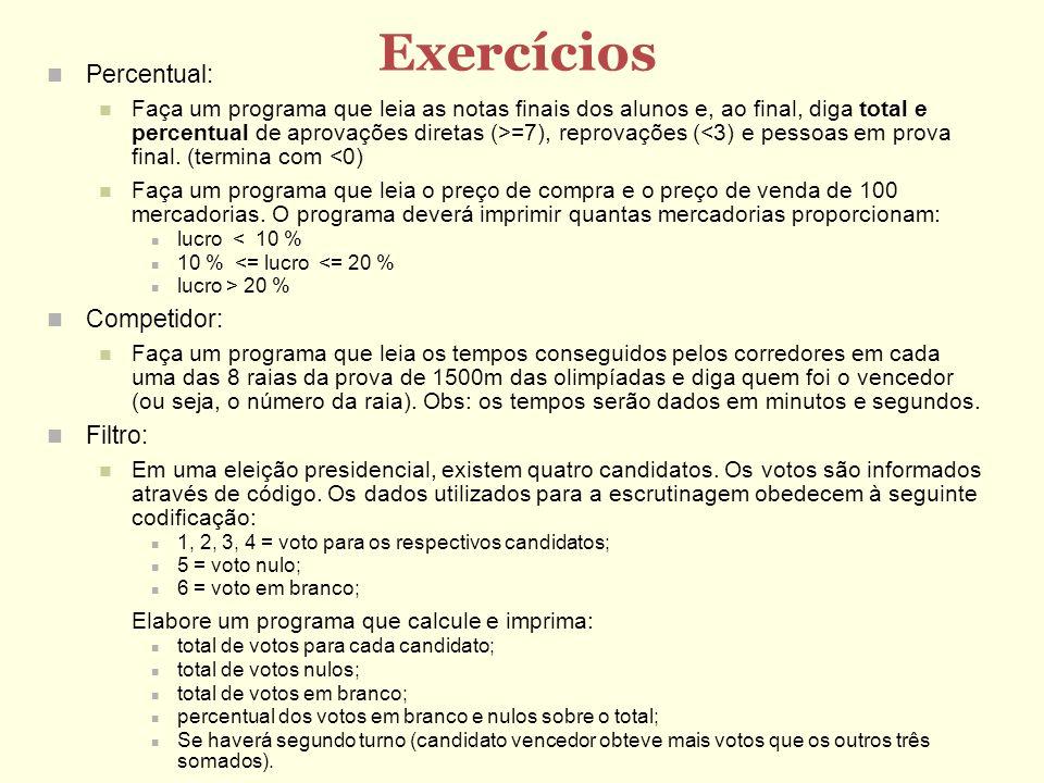 Exercícios Percentual: Competidor: Filtro: