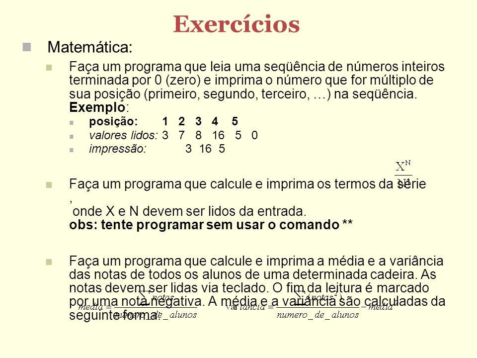 Exercícios Matemática: