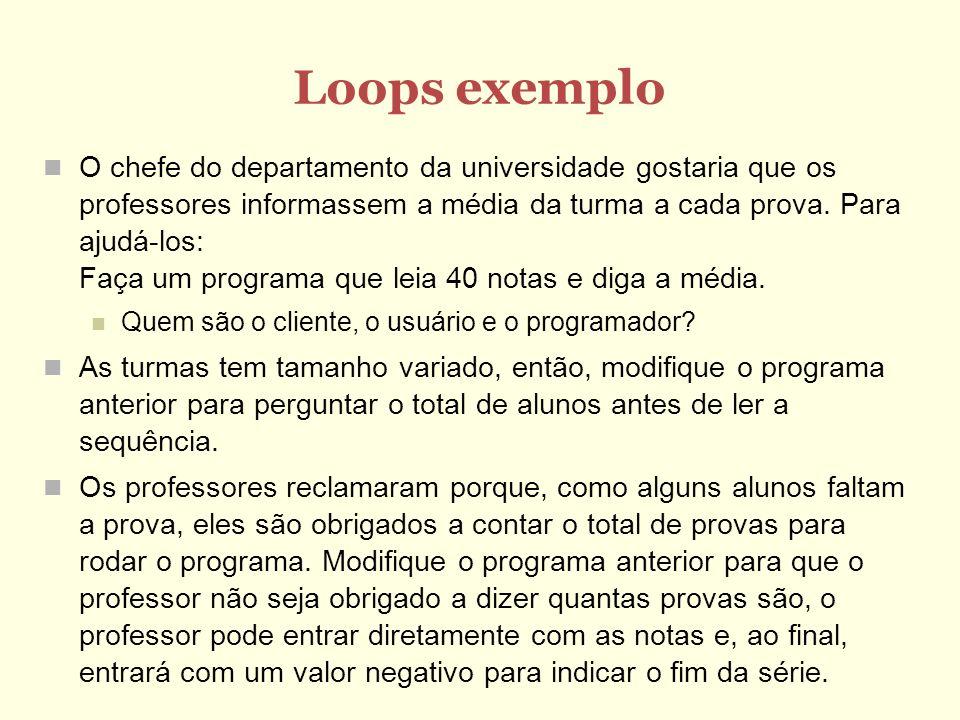 Loops exemplo