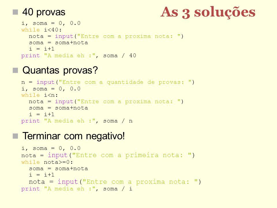 As 3 soluções 40 provas Quantas provas Terminar com negativo!