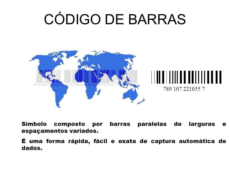 CÓDIGO DE BARRAS 789 107 221055 7. Símbolo composto por barras paralelas de larguras e espaçamentos variados.