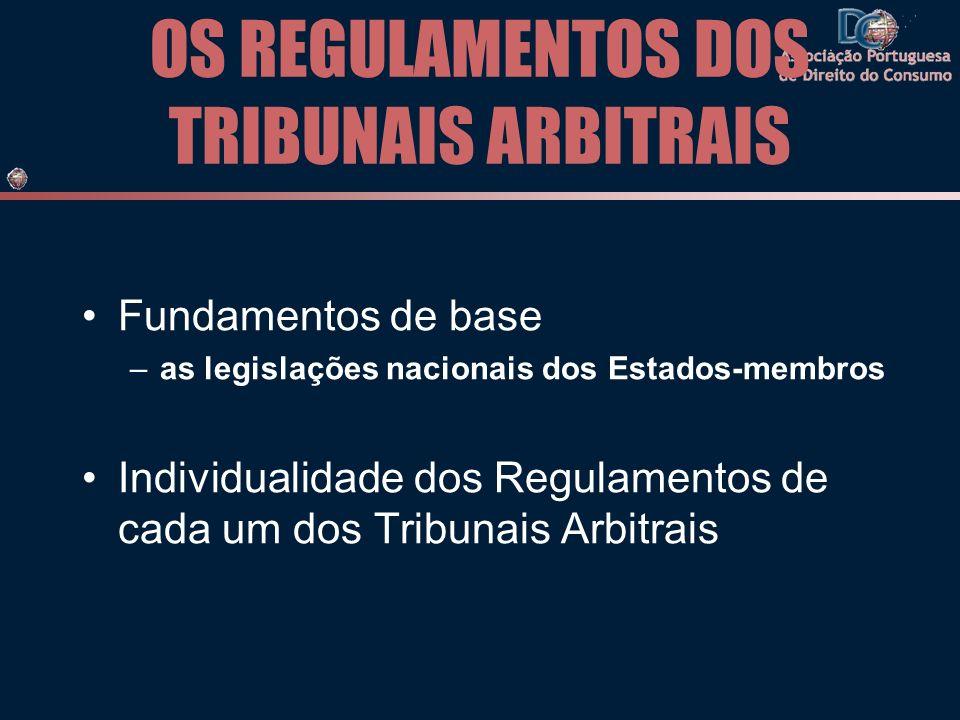 OS REGULAMENTOS DOS TRIBUNAIS ARBITRAIS