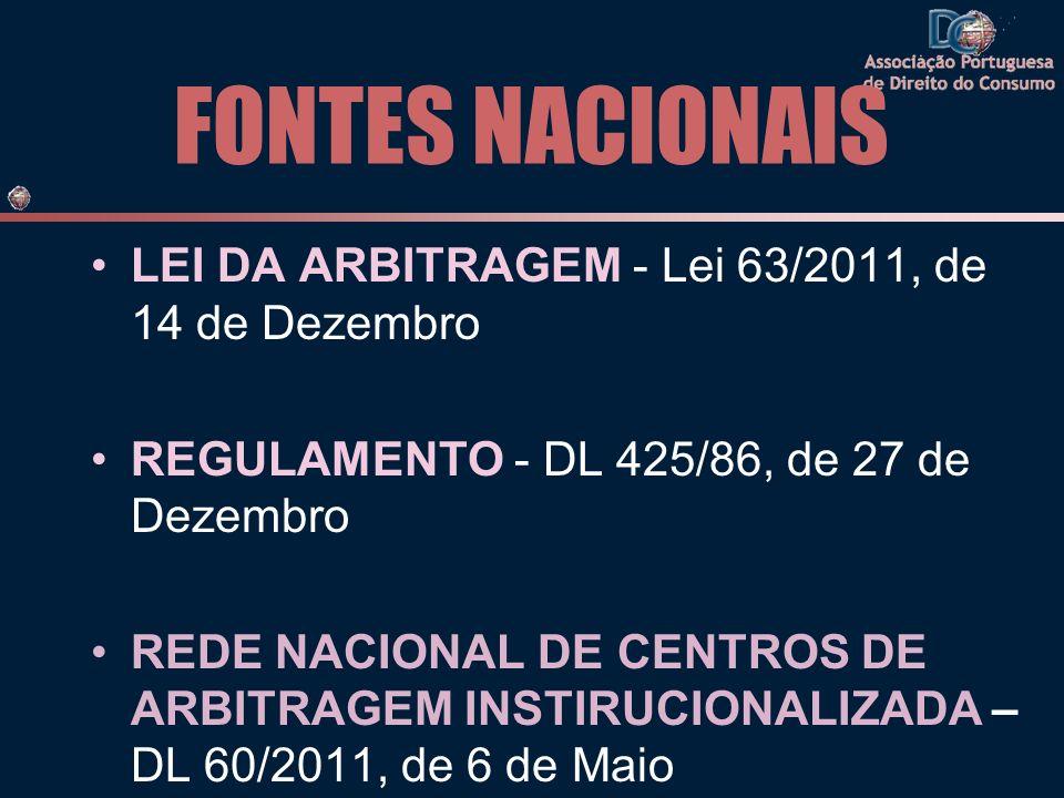 FONTES NACIONAIS LEI DA ARBITRAGEM - Lei 63/2011, de 14 de Dezembro