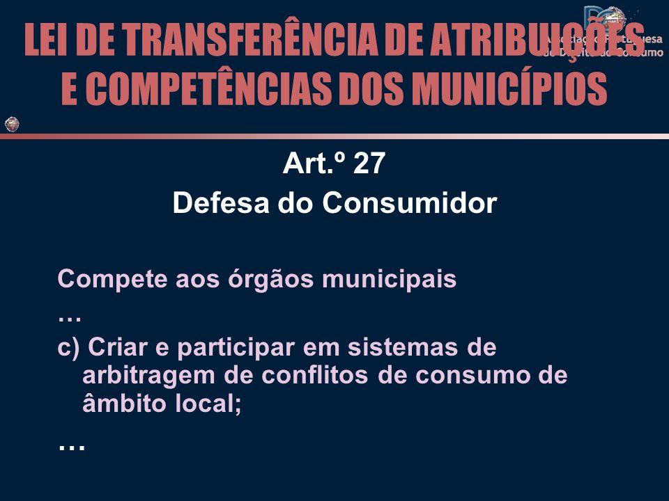 LEI DE TRANSFERÊNCIA DE ATRIBUIÇÕES E COMPETÊNCIAS DOS MUNICÍPIOS