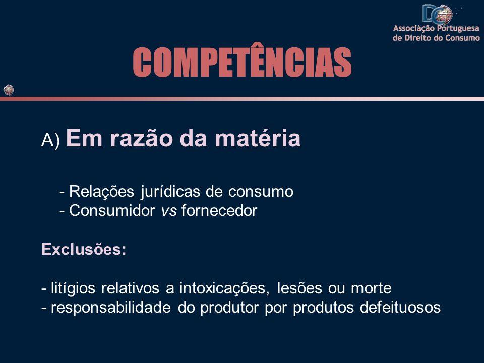 COMPETÊNCIAS A) Em razão da matéria - Relações jurídicas de consumo