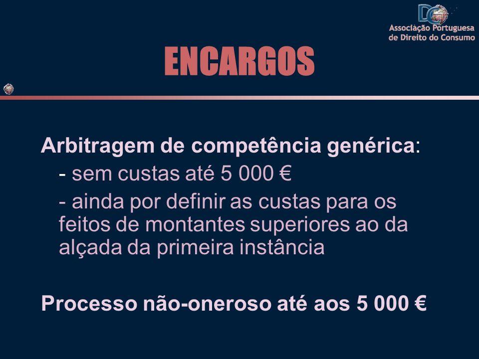 ENCARGOS Arbitragem de competência genérica: - sem custas até 5 000 €