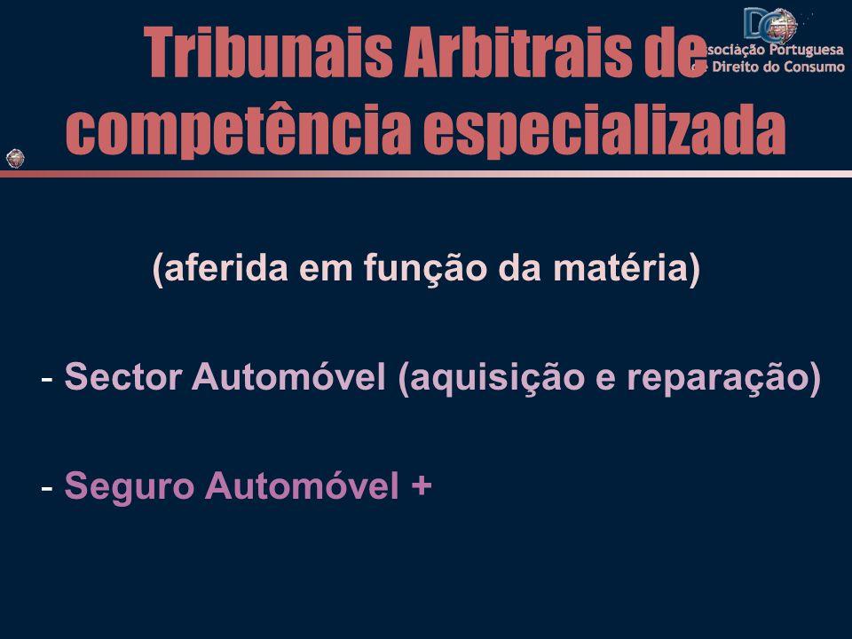 Tribunais Arbitrais de competência especializada