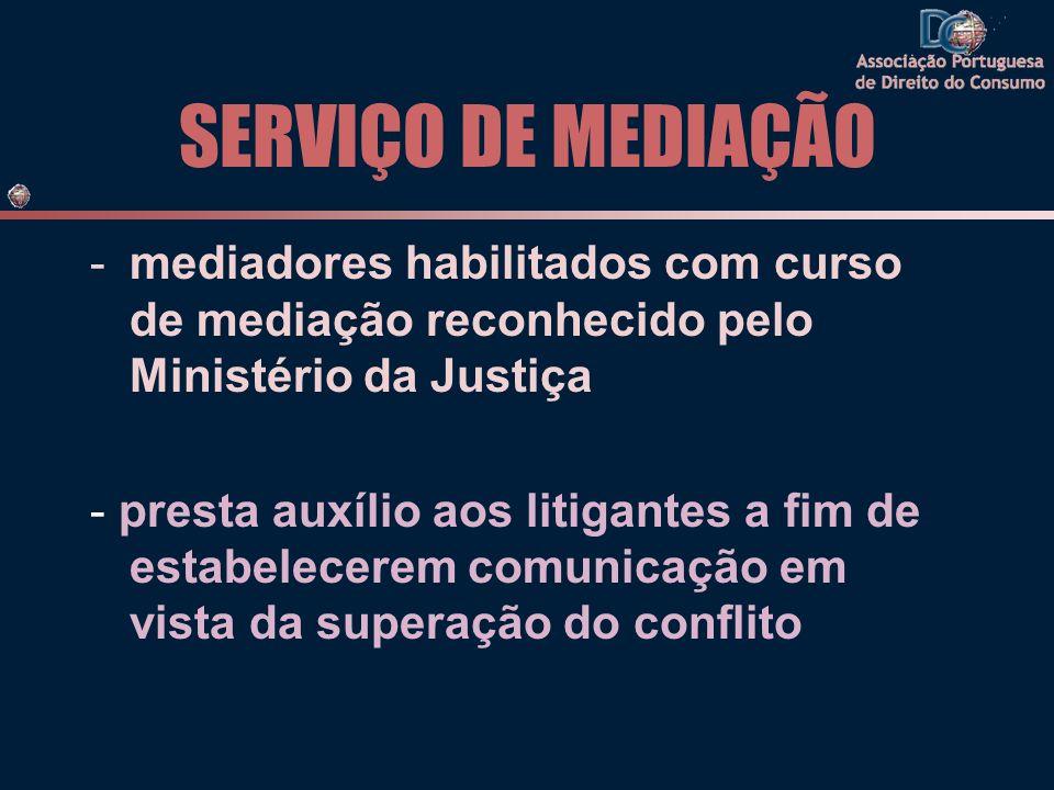 SERVIÇO DE MEDIAÇÃO mediadores habilitados com curso de mediação reconhecido pelo Ministério da Justiça.