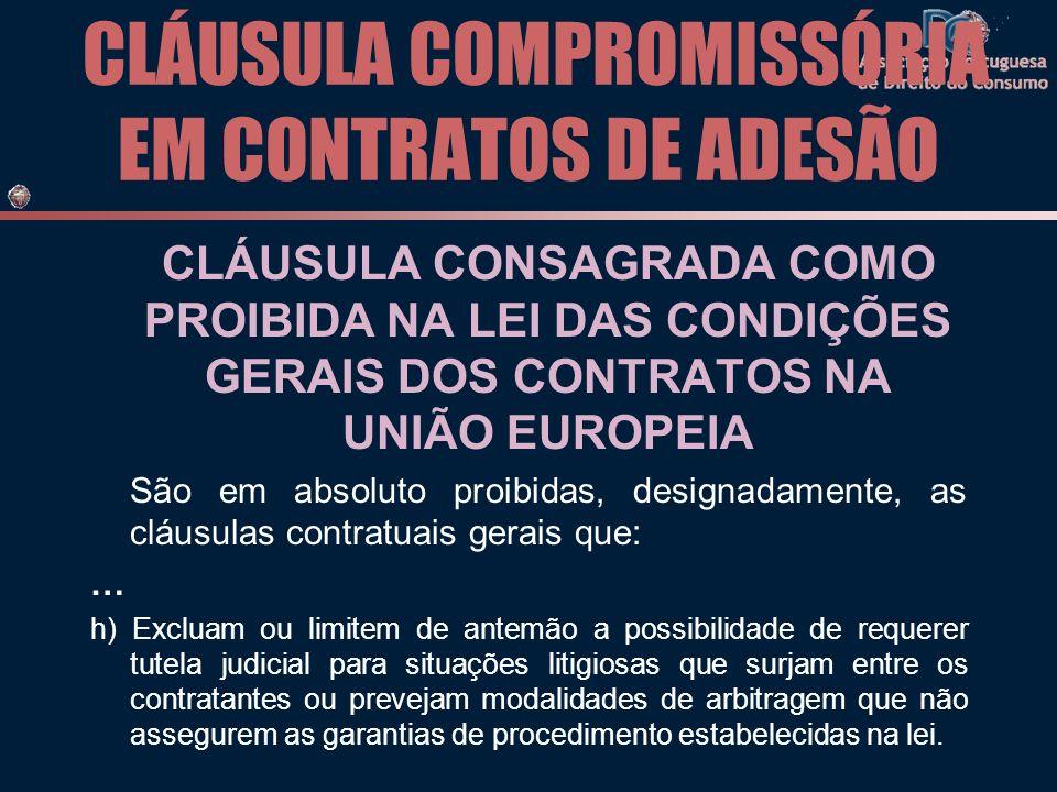 CLÁUSULA COMPROMISSÓRIA EM CONTRATOS DE ADESÃO