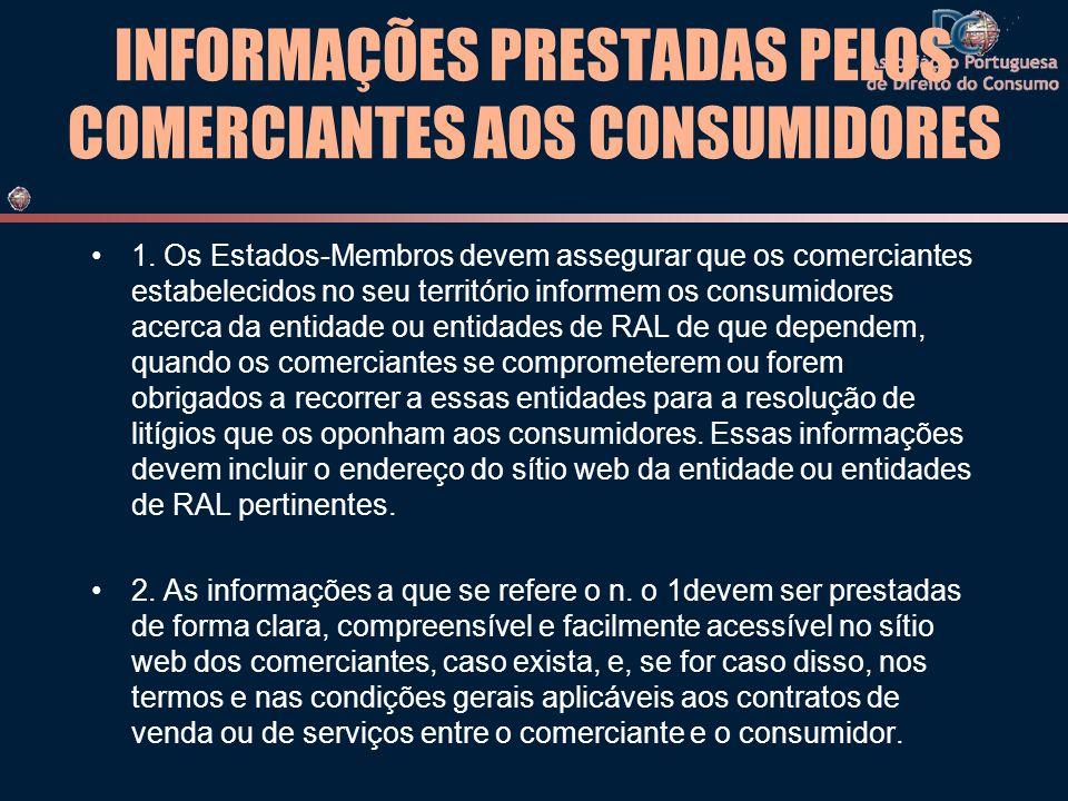 INFORMAÇÕES PRESTADAS PELOS COMERCIANTES AOS CONSUMIDORES