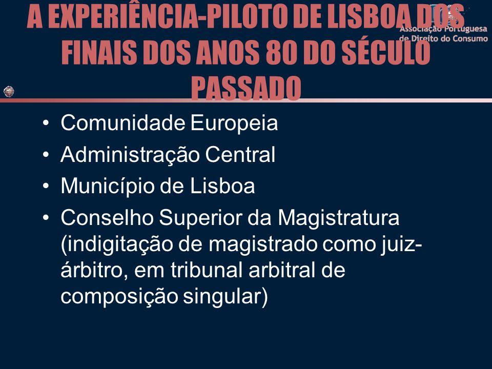 A EXPERIÊNCIA-PILOTO DE LISBOA DOS FINAIS DOS ANOS 80 DO SÉCULO PASSADO