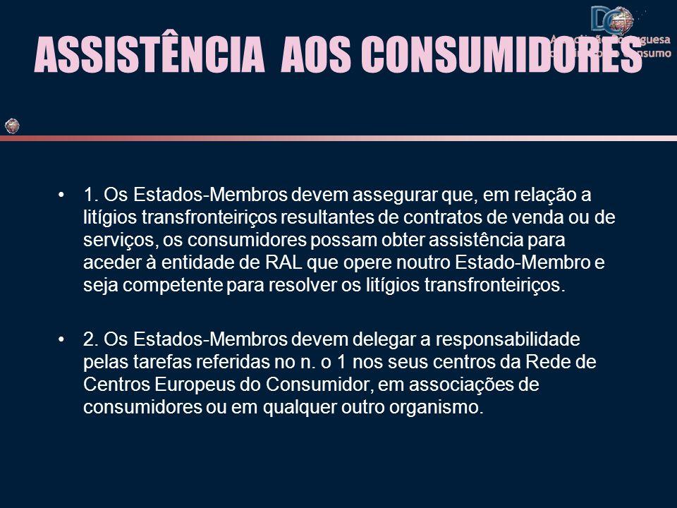 ASSISTÊNCIA AOS CONSUMIDORES