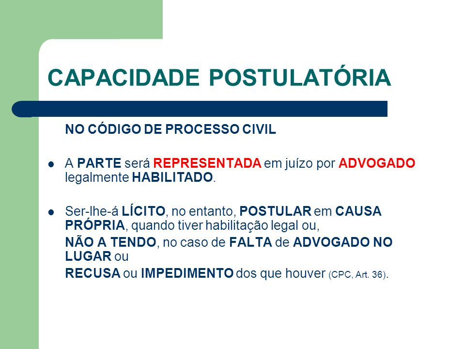 CAPACIDADE POSTULATÓRIA